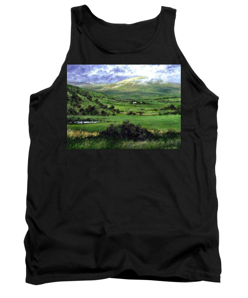 Landcape Tank Top featuring the painting Way To Ardara Ireland by Jim Gola