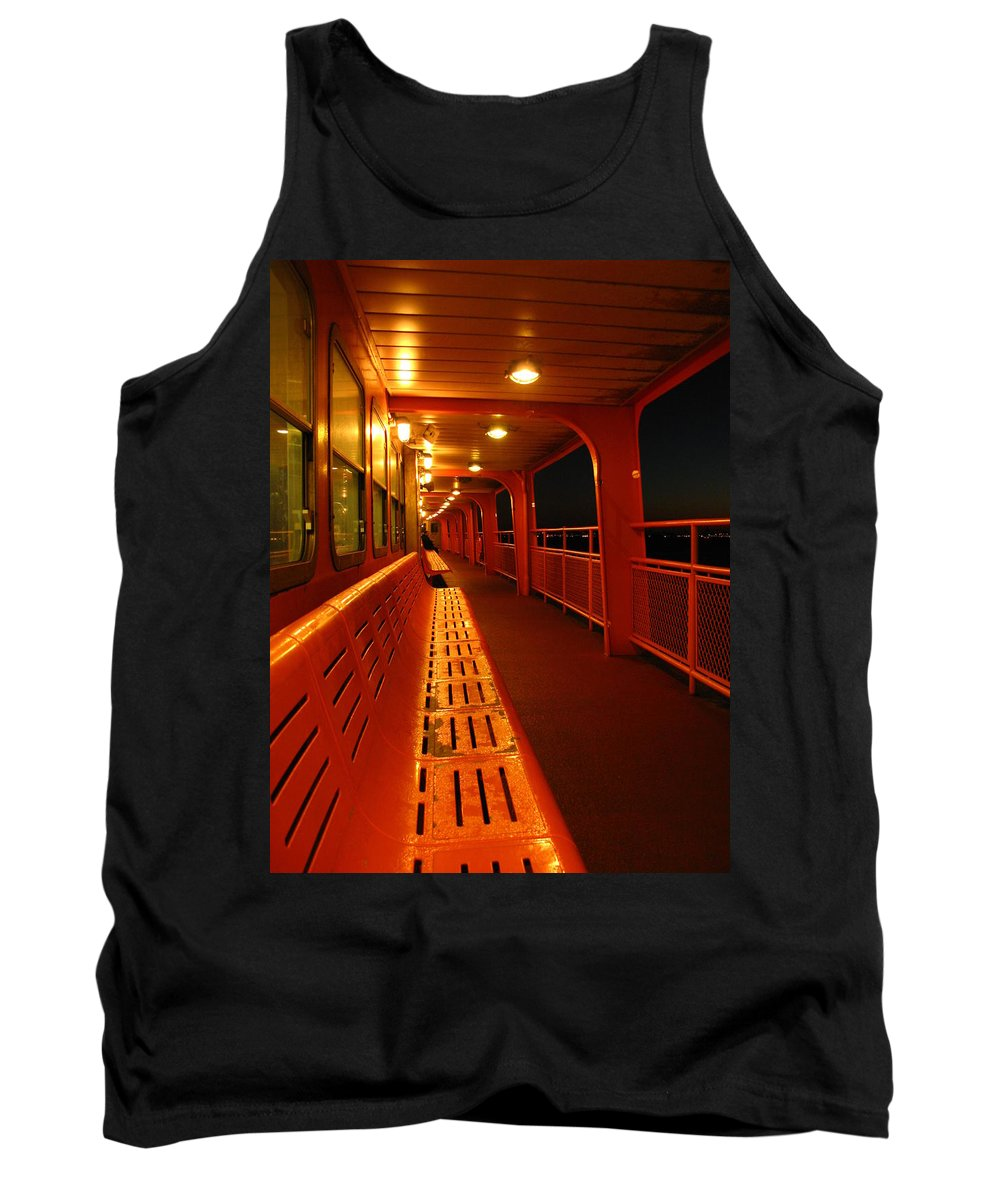 Late Night Tank Top featuring the photograph Weather Deck Starboard Side Night by Robert McCulloch