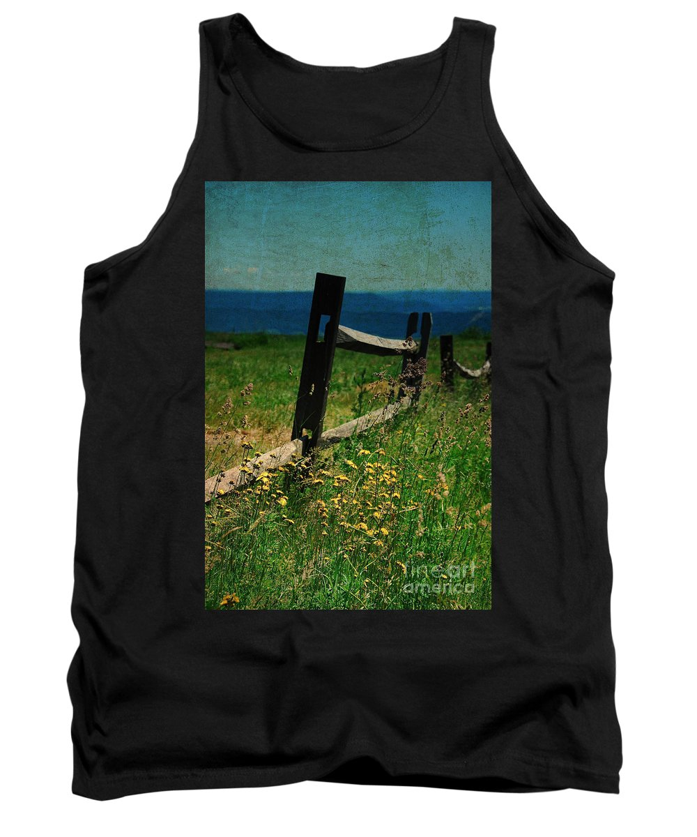 Fence Tank Top featuring the photograph Weeds by Lois Bryan