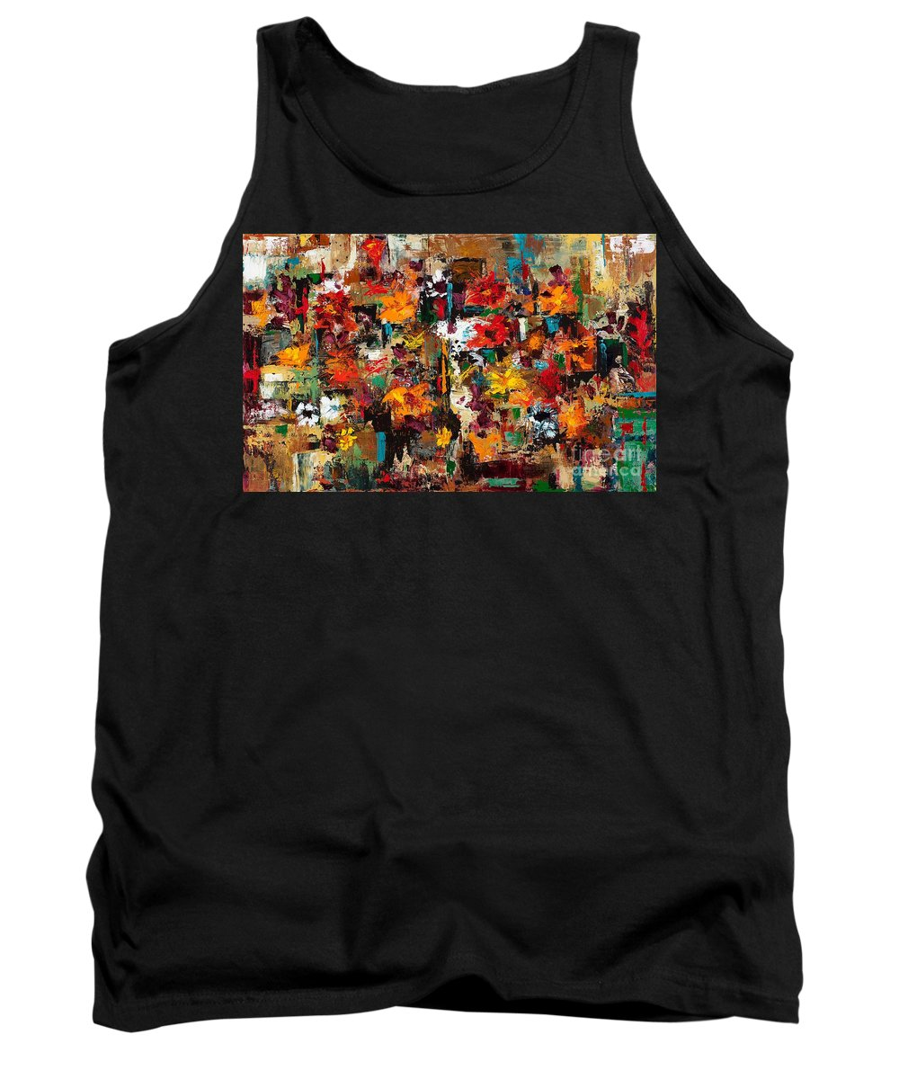 Abstract Flowers Tank Top featuring the painting Welcome To My Flower Garden by Frances Marino