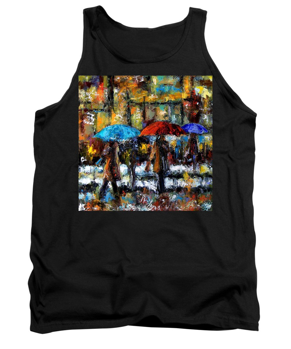 Rainy City Art Tank Top featuring the painting Wet Winter Day by Debra Hurd