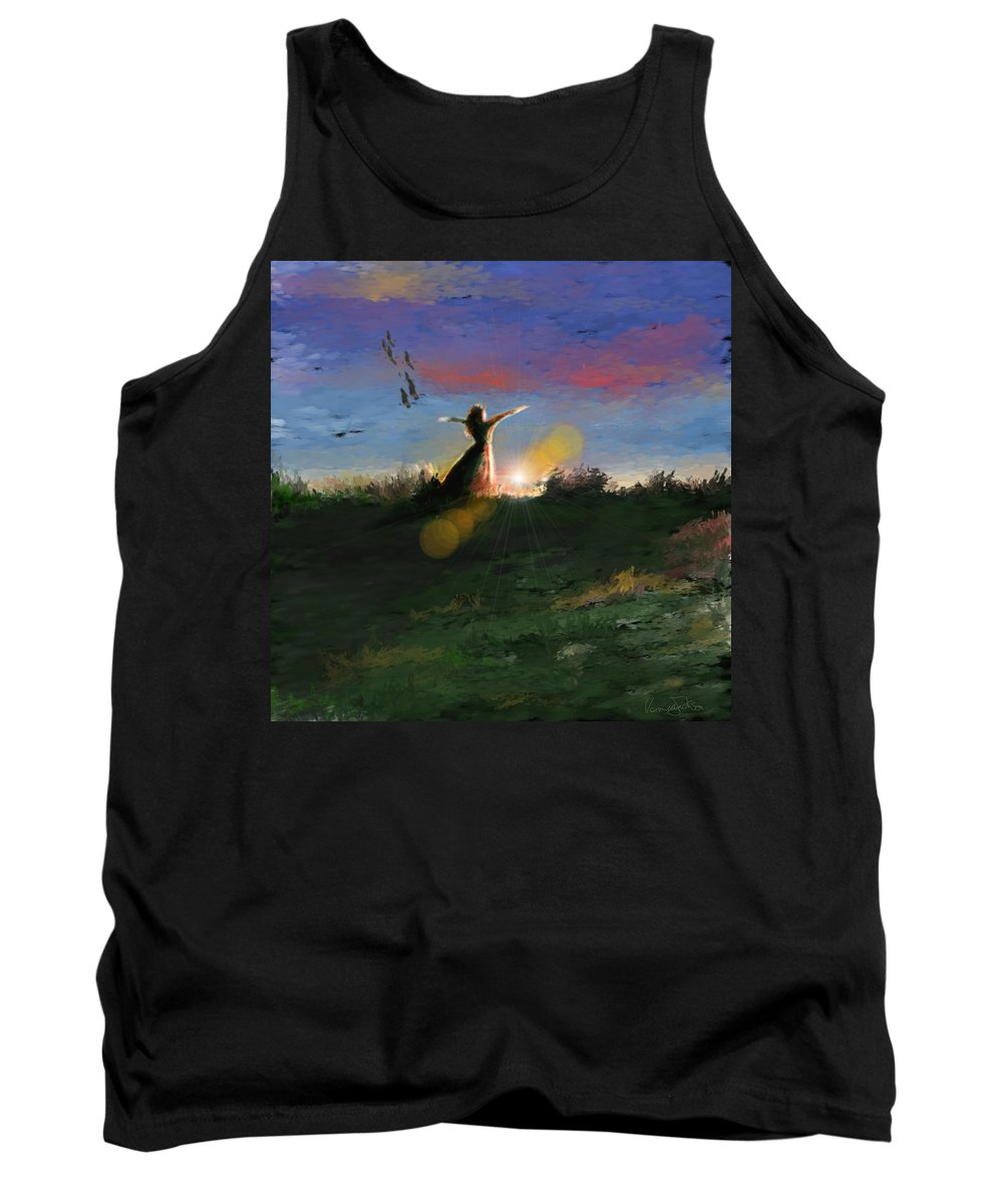 Morning Sunrise Star Woman Nature Sky Clouds Tank Top featuring the mixed media What's The Story Morning Glory by Veronica Jackson