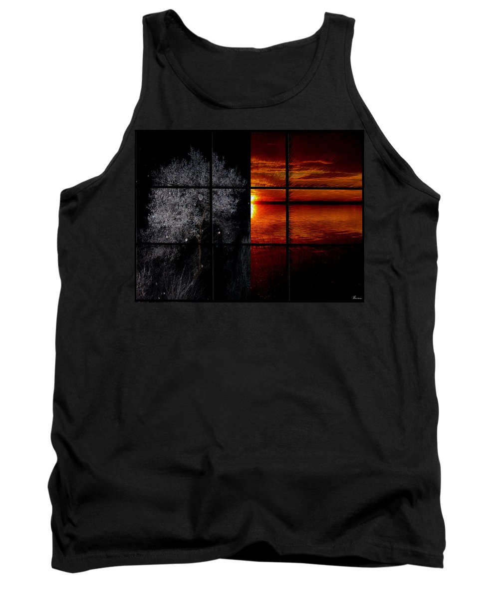 Trees Frost Cold Warm Sunshine Water Lake Shimmer Tank Top featuring the photograph Which Side You On by Andrea Lawrence