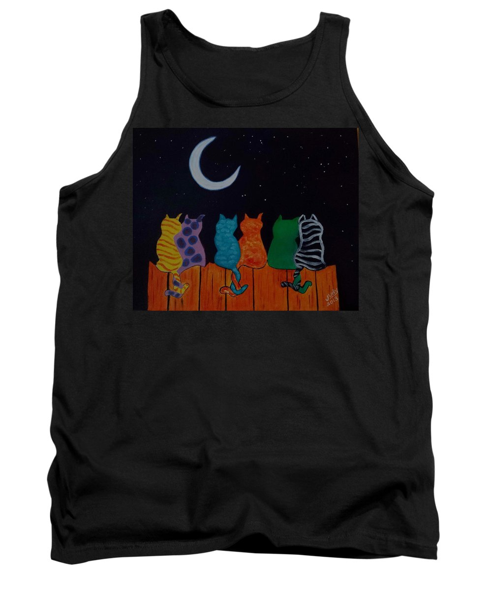 Cats Tank Top featuring the painting Whimsical Cats by Judy Jones