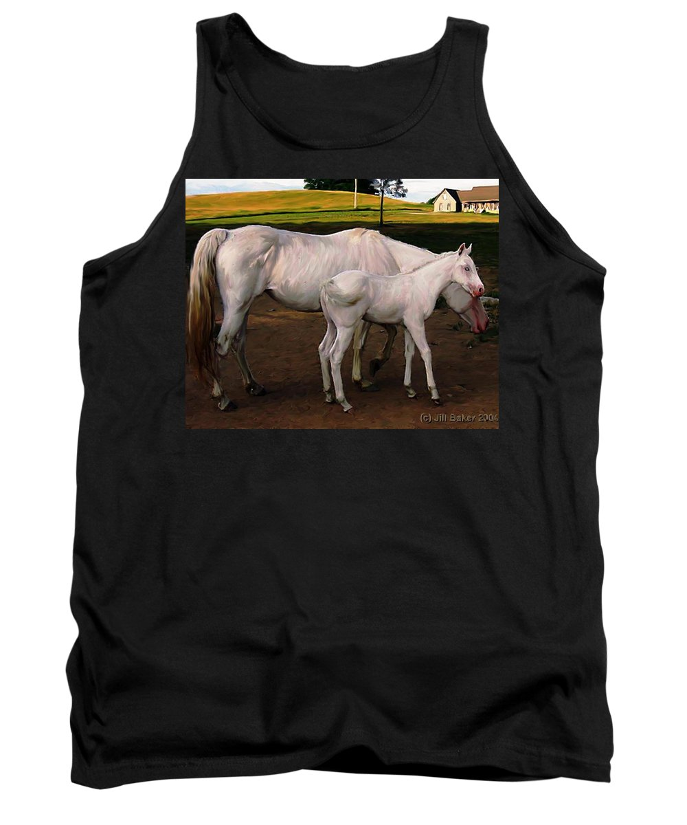 White Horses Tank Top featuring the painting White Baby Horse by Jill Baker