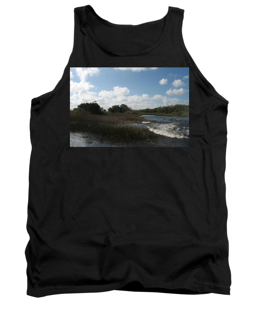 Everglades Tank Top featuring the photograph White Cloudes Over Water by Christiane Schulze Art And Photography