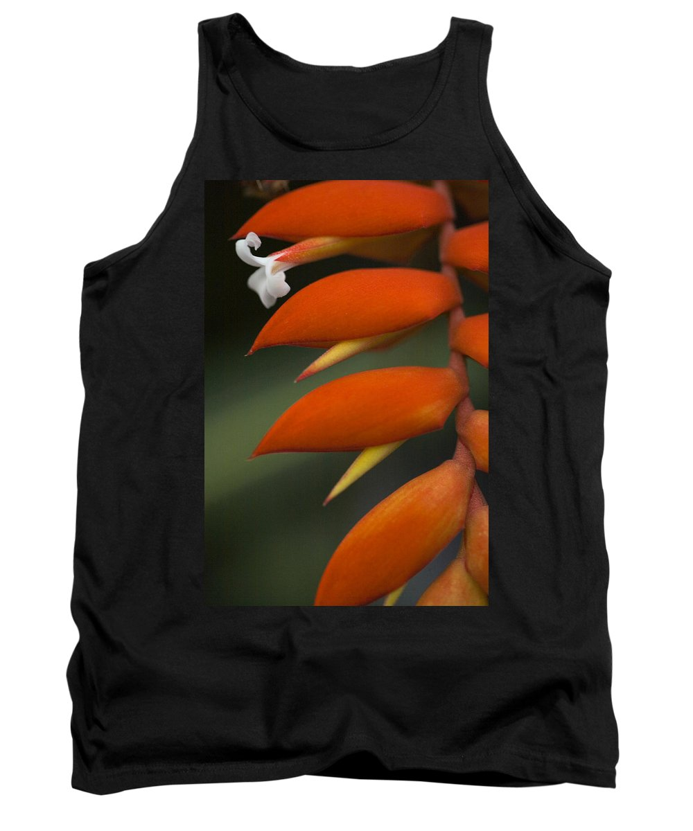 Heliconia Tank Top featuring the photograph White Flower And Orange by Karen Ulvestad