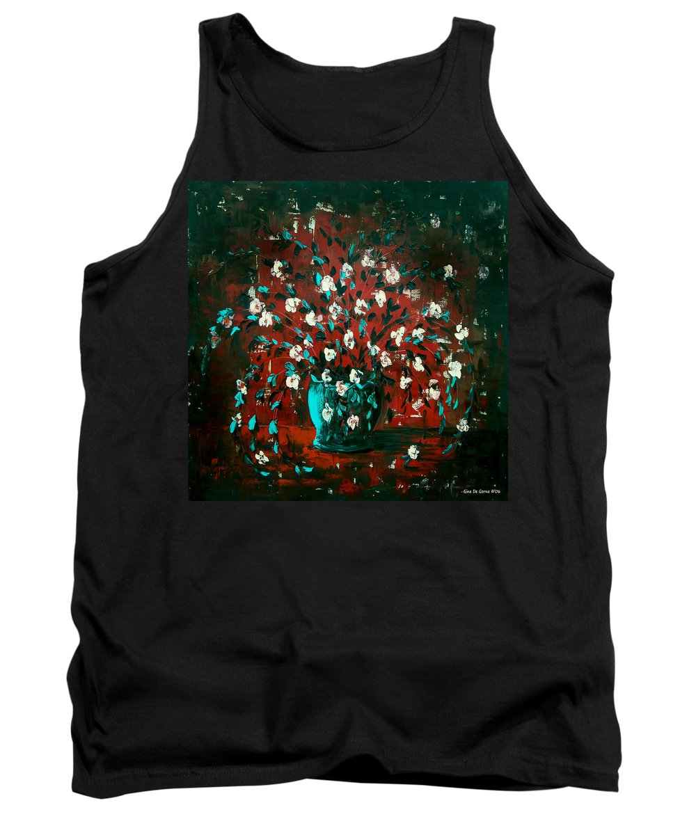 Flowers Tank Top featuring the painting White Flowers 4 by Gina De Gorna