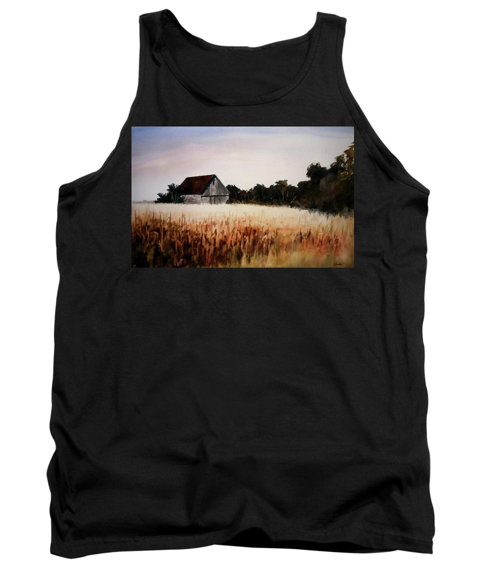 Landscape Tank Top featuring the painting White For Harvest by Rachel Christine Nowicki