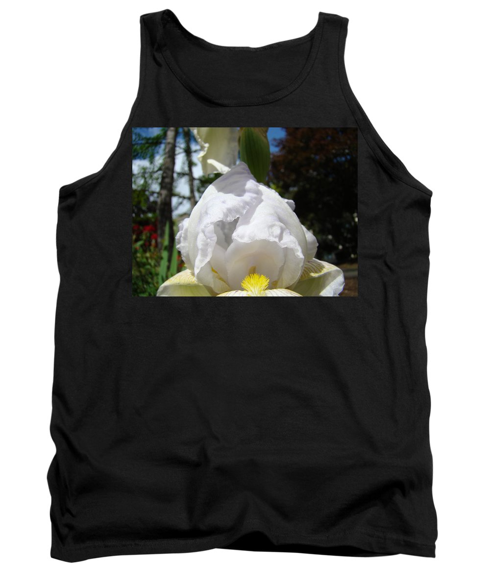 Iris Tank Top featuring the photograph White Iris Flower Art Prints Canvas Irises Artwork by Baslee Troutman