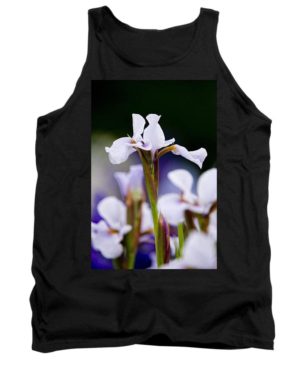 Gardens Tank Top featuring the photograph White Japanese Iris 2 by Michael Cummings