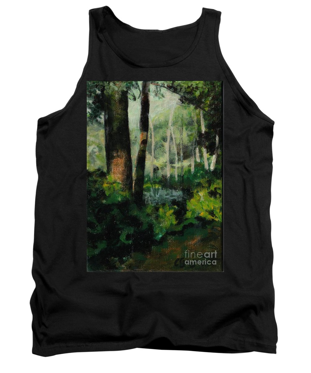 Tree Tank Top featuring the painting White Mountain Woods by Claire Gagnon