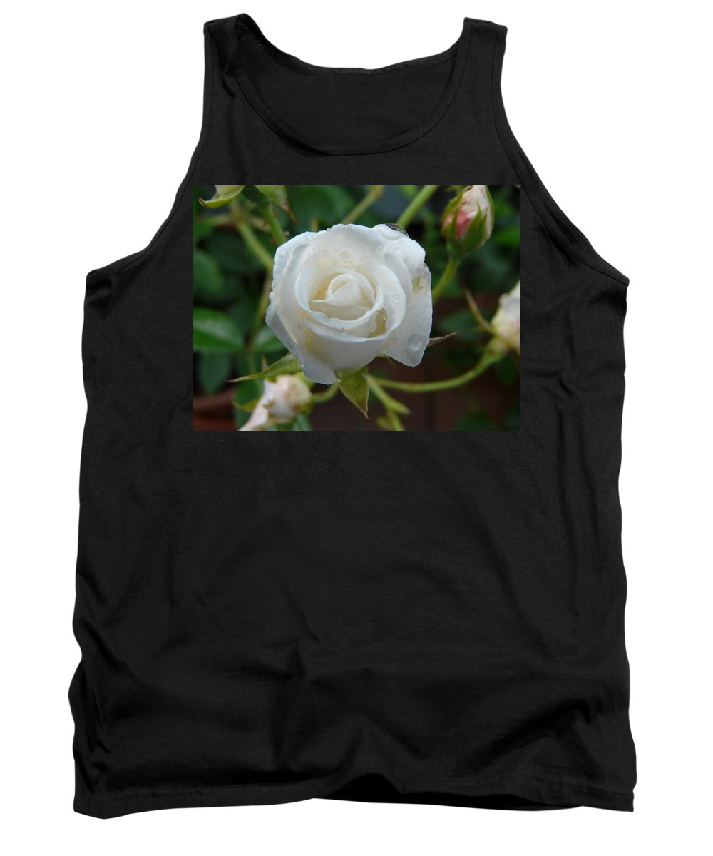 Rose Tank Top featuring the photograph White Rose After Rain 2 by Valerie Ornstein