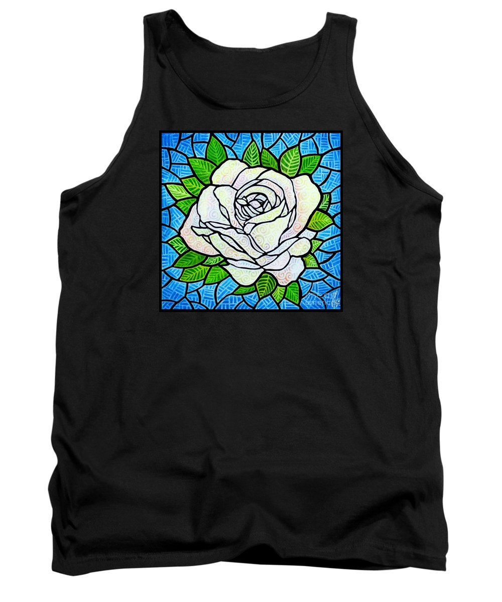 White Tank Top featuring the painting White Rose by Jim Harris