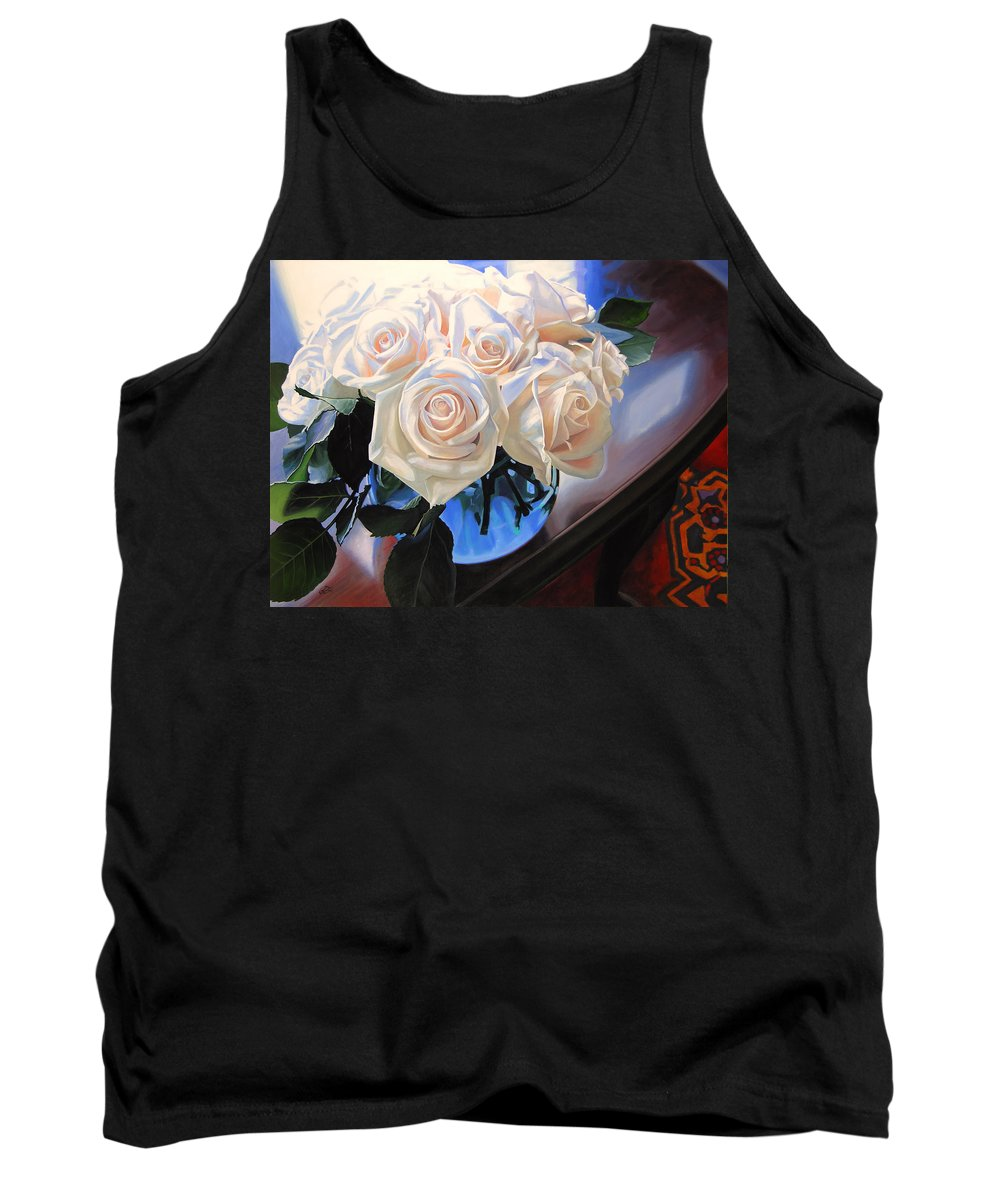 Roses Tank Top featuring the painting White Roses by Rebecca Zook