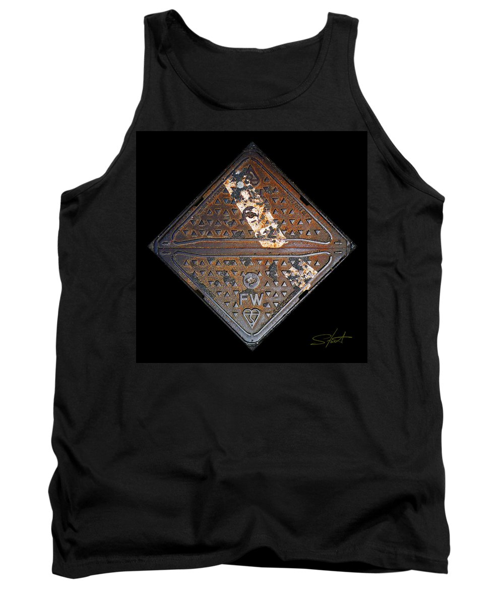 Grating Tank Top featuring the photograph White Stripe Diamond by Charles Stuart