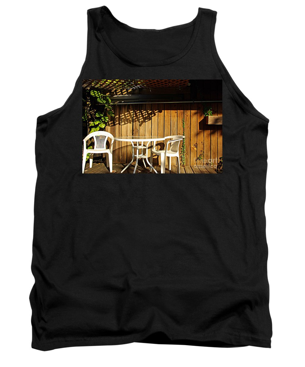 White Tank Top featuring the photograph White Table With Chairs by Zal Latzkovich