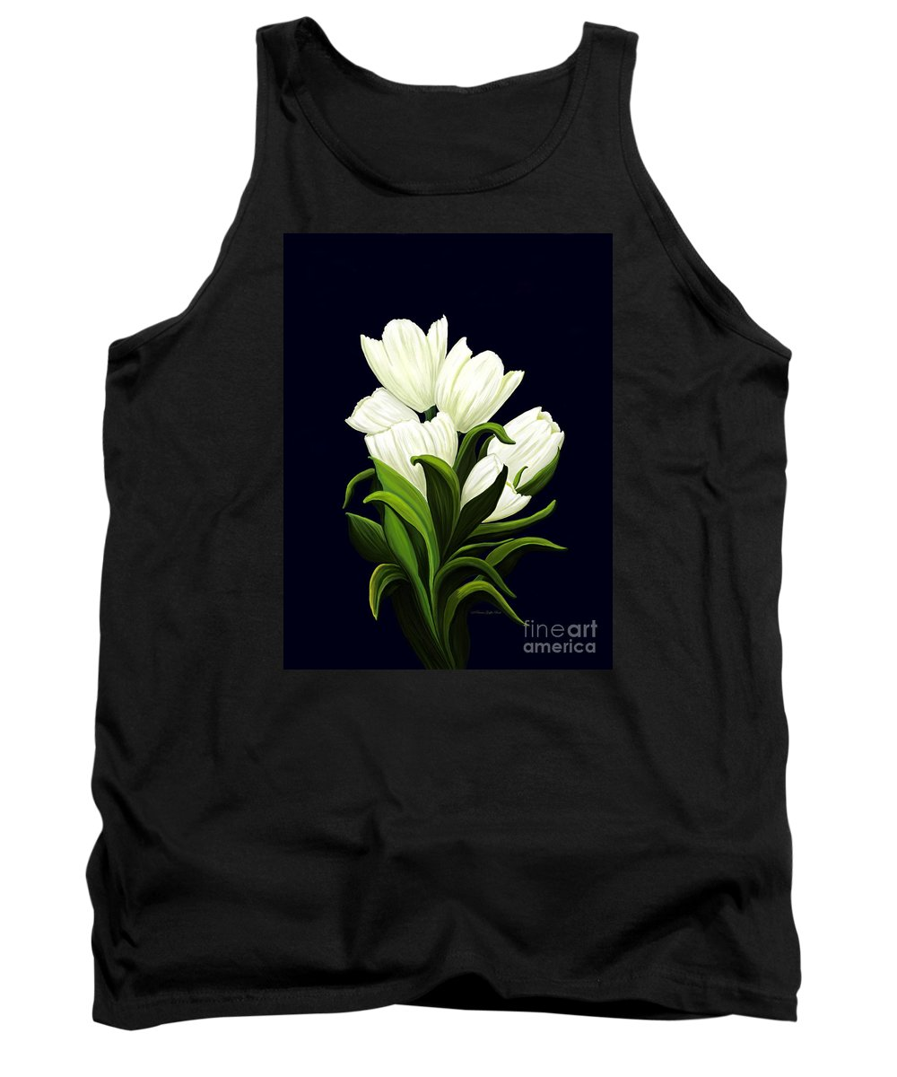 Mixed Media Tank Top featuring the painting White Tulips by Patricia Griffin Brett