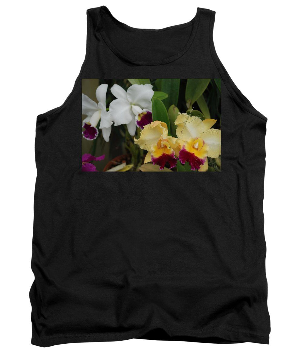 Macro Tank Top featuring the photograph White Yellow Orchids by Rob Hans