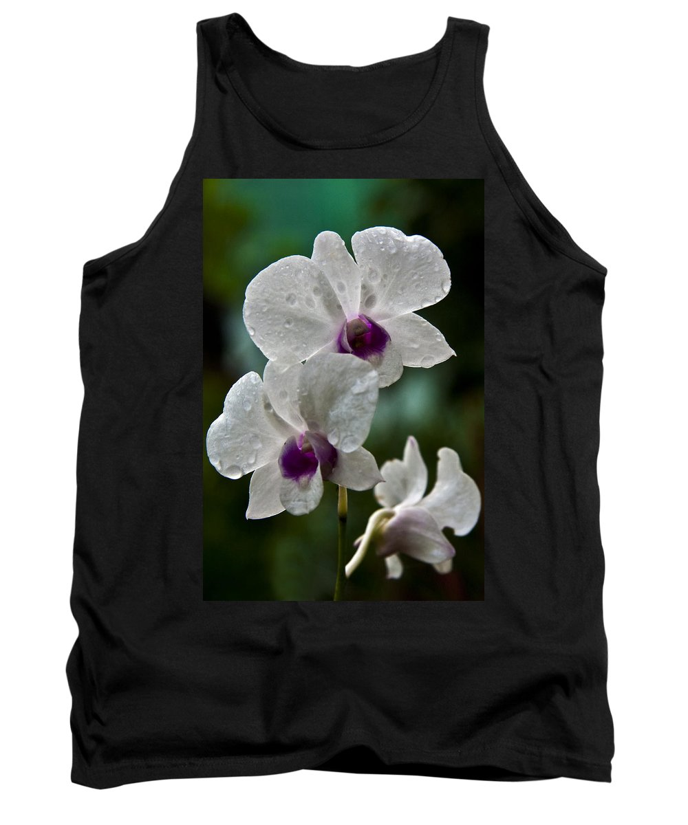Flower Tank Top featuring the photograph Whte Orchids by George Cabig