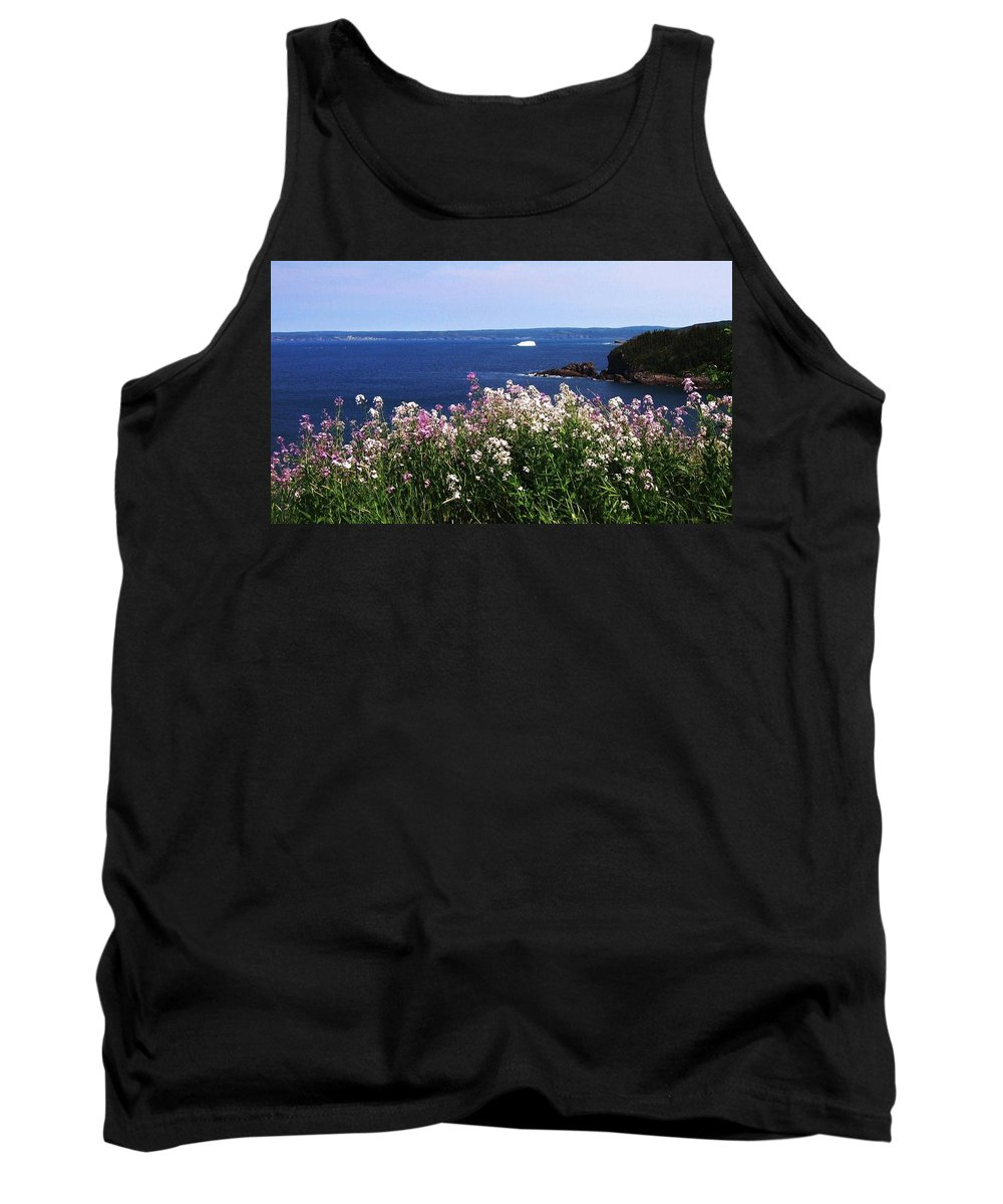 Photograph Iceberg Wild Flower Atlantic Ocean Newfoundland Tank Top featuring the photograph Wild Flowers And Iceberg by Seon-Jeong Kim