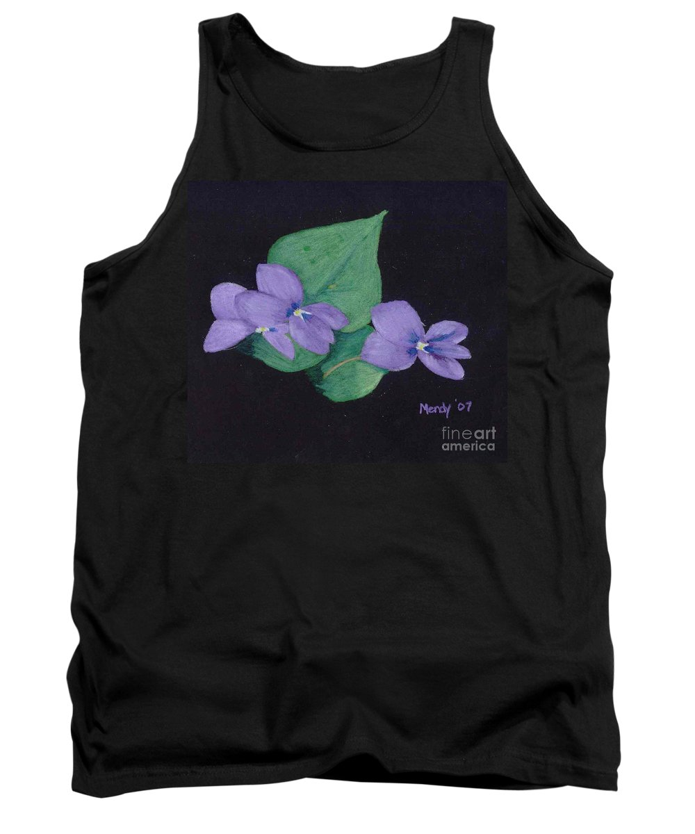 Violets Tank Top featuring the pastel Wild Violets by Mendy Pedersen