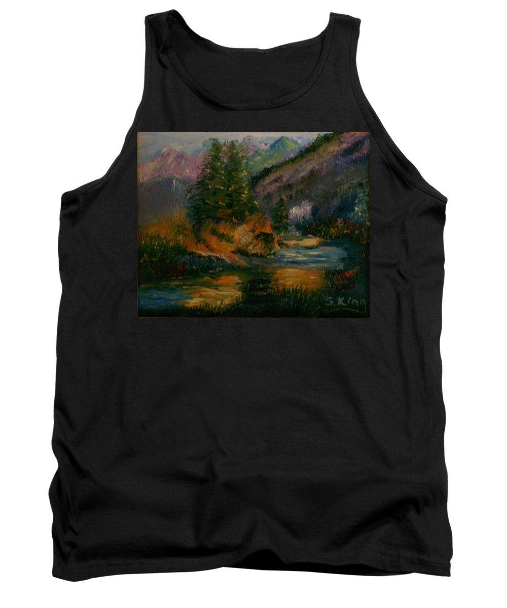 Landscape Tank Top featuring the painting Wilderness Stream by Stephen King