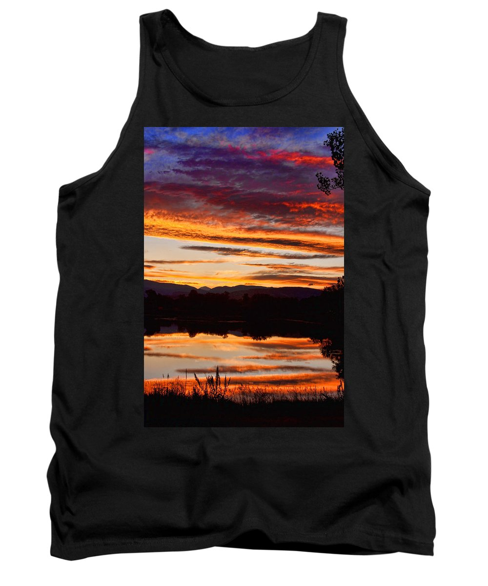 Sunset Tank Top featuring the photograph Wildfire Sunset 1v by James BO Insogna