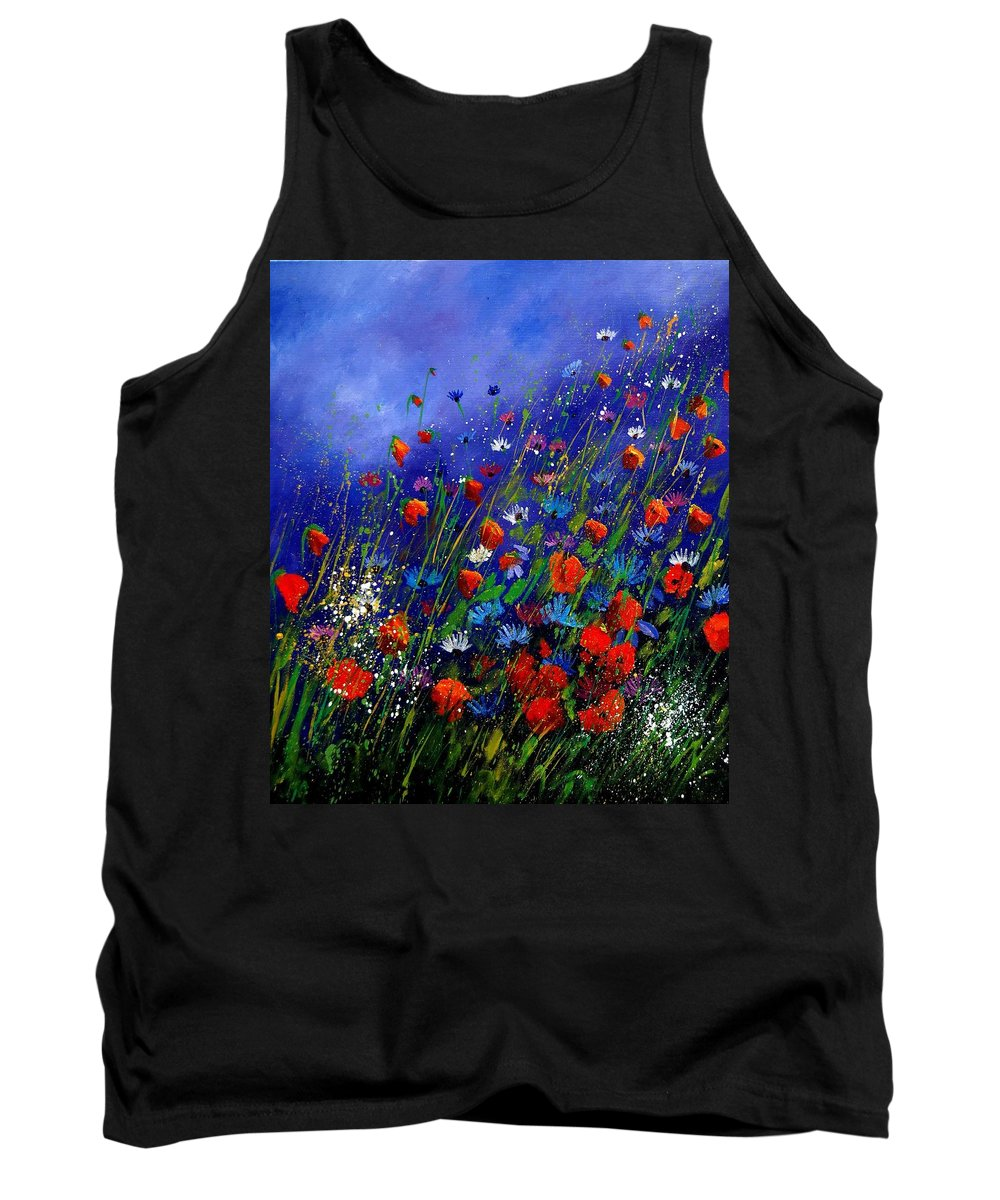 Poppies Tank Top featuring the painting Wildflowers 78 by Pol Ledent
