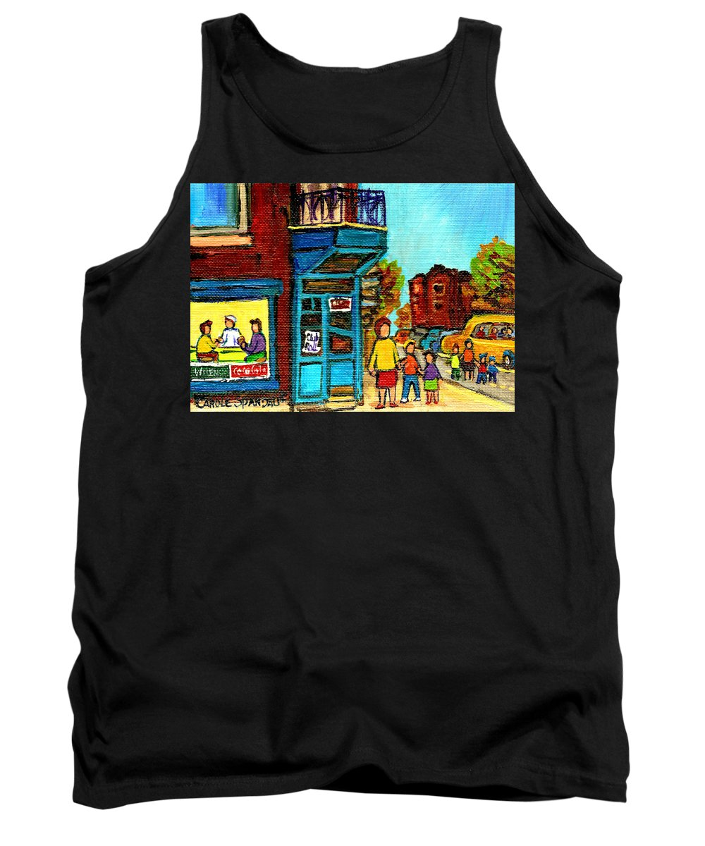 Montreal Tank Top featuring the painting Wilensky's Counter With School Bus Montreal Street Scene by Carole Spandau