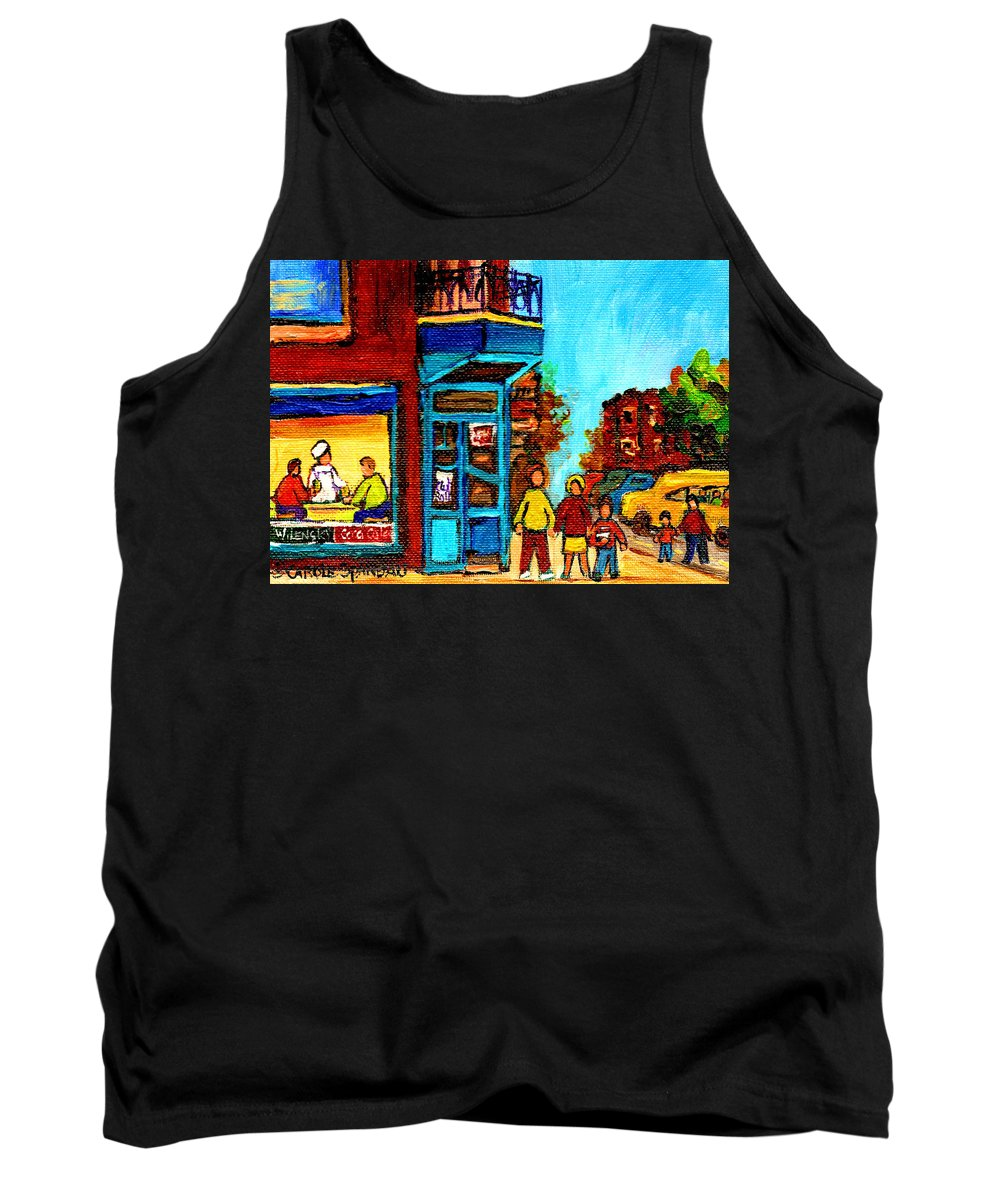 Montreal Tank Top featuring the painting Wilensky's Lunch Counter With School Bus Montreal Street Scene by Carole Spandau
