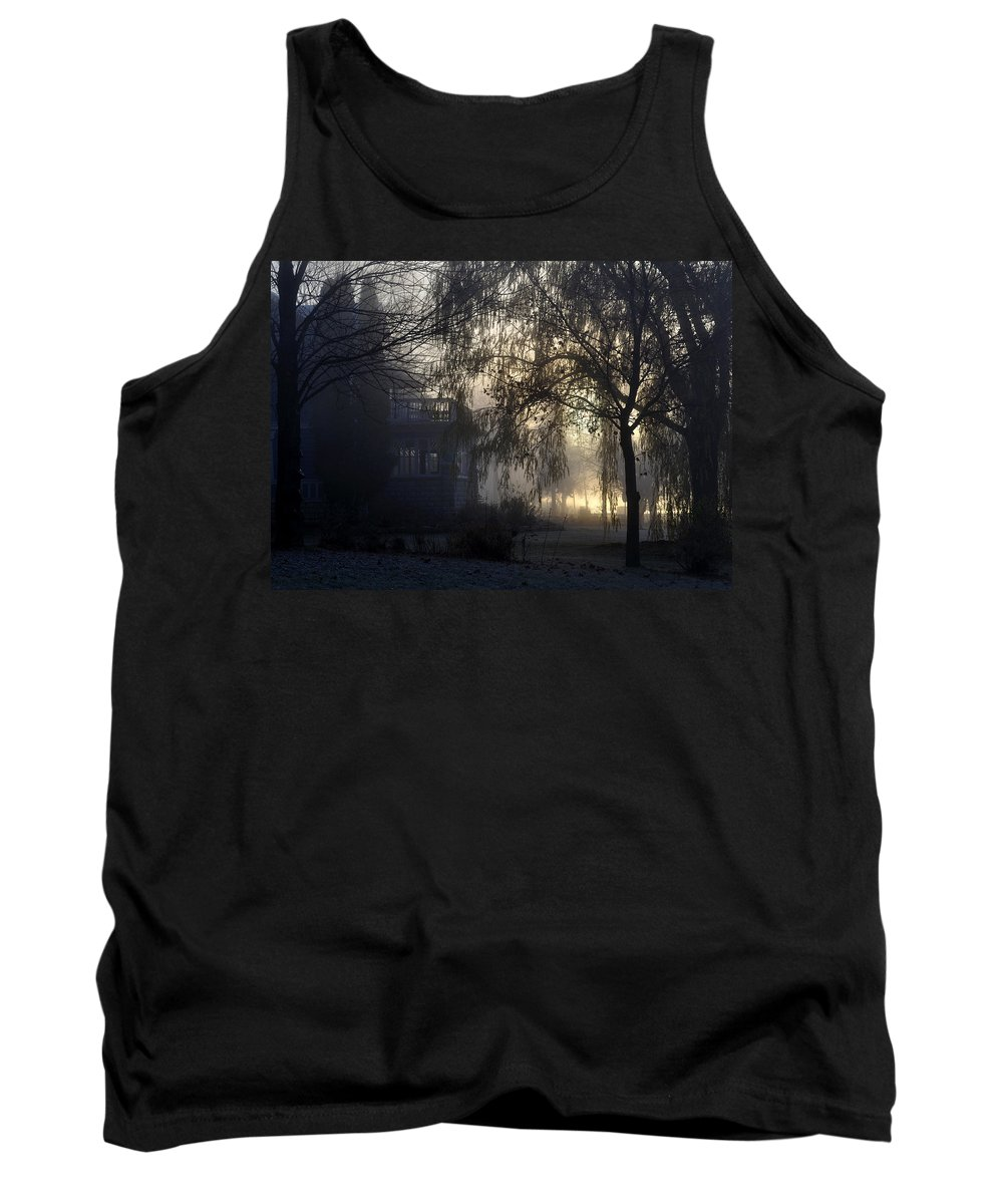 Fog Tank Top featuring the photograph Willow In Fog by Tim Nyberg