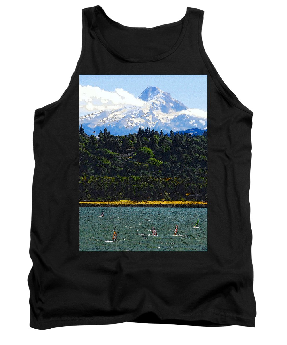 Art Tank Top featuring the painting Wind Surfing Mt. Hood by David Lee Thompson