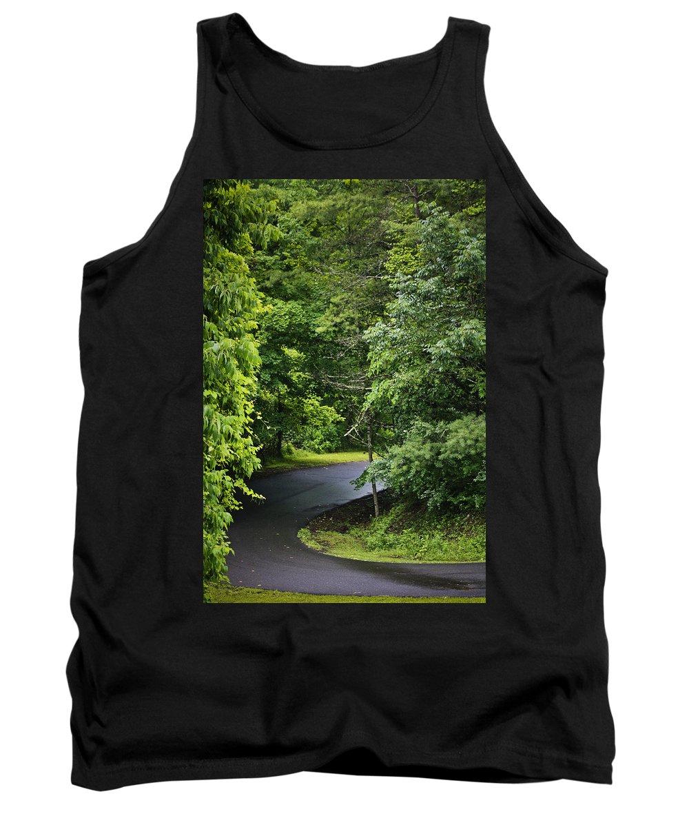 Rain Tank Top featuring the photograph Winding Road Bluestone State Park West Virginia by Teresa Mucha