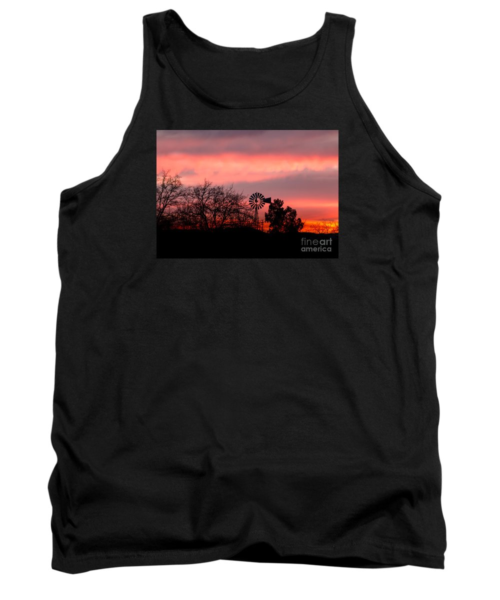 Windmill Tank Top featuring the photograph Windmill At Sunset by Leslie Wells