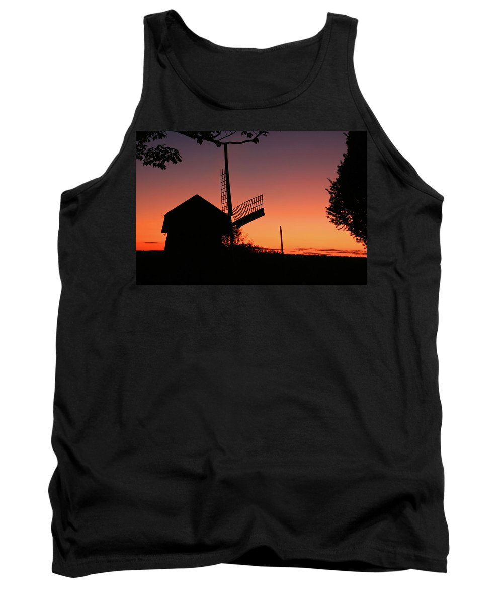 Windmill Tank Top featuring the photograph Windmill In The Afterglow. by David Freuthal