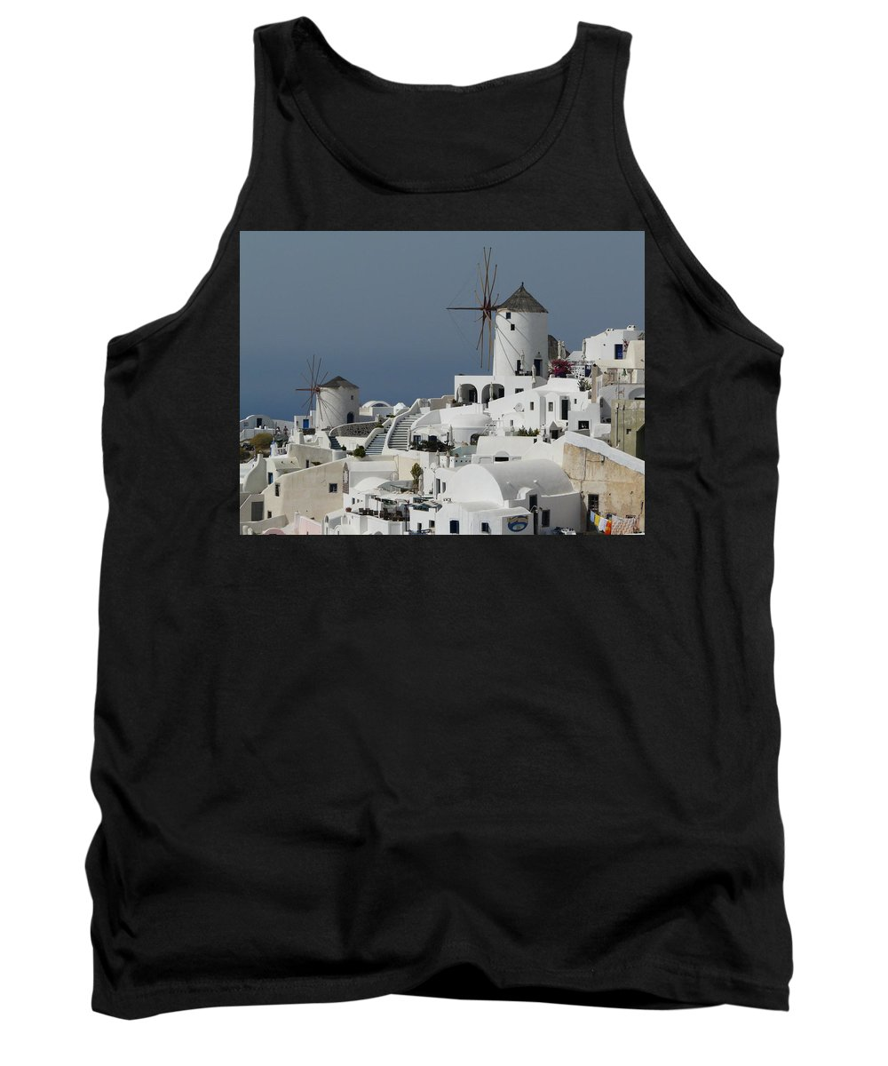 Santorin Tank Top featuring the photograph Windmills Of Santorini by Valerie Ornstein