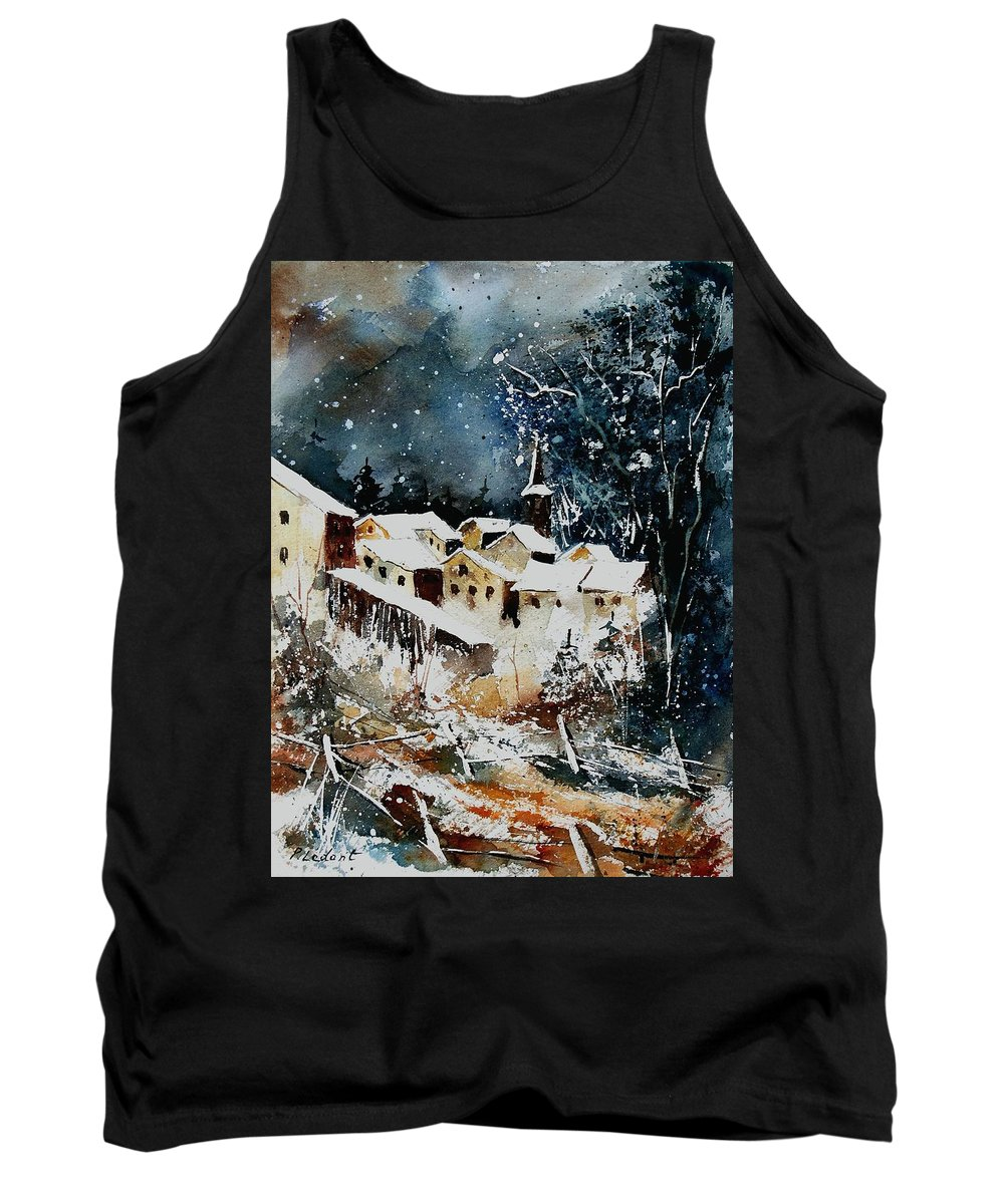 Winter Tank Top featuring the painting Winter In Vivy by Pol Ledent