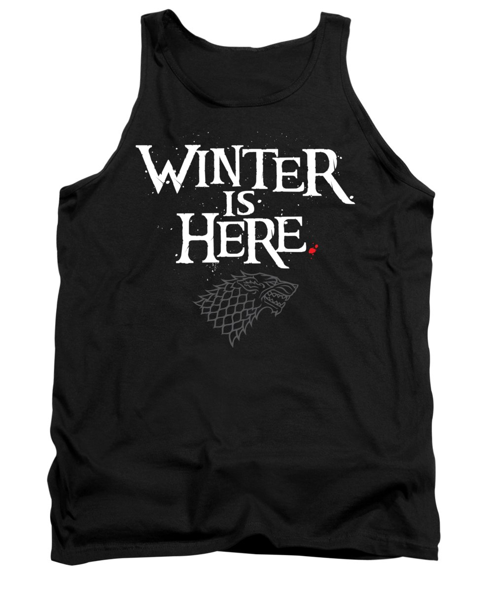 Game Of Thrones Tank Top featuring the digital art Winter Is Here - Stark Sigil by Edward Draganski