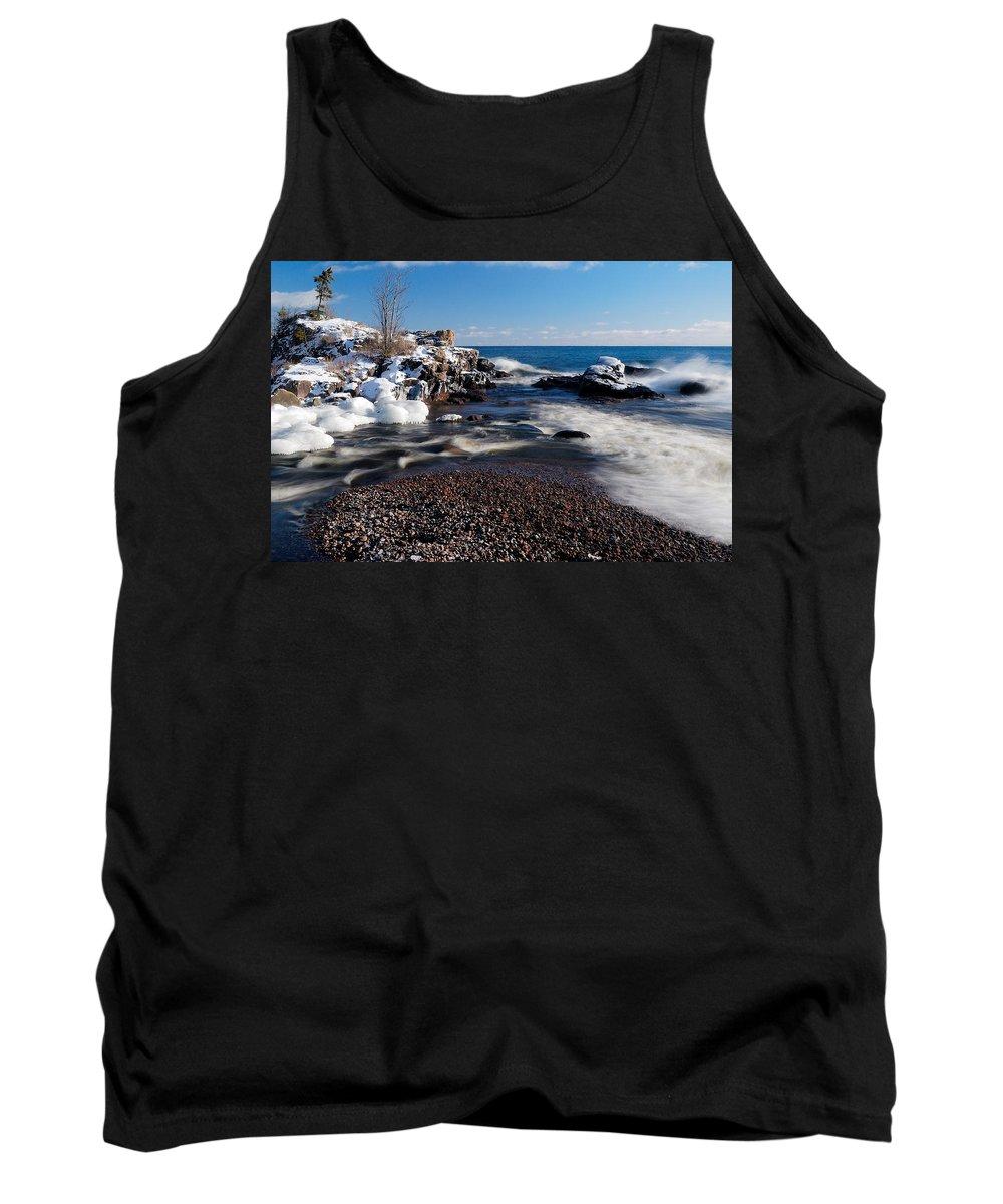 Michigan Tank Top featuring the photograph Winter Splash by Sebastian Musial