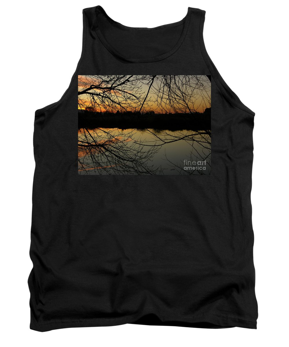 Sunset Tank Top featuring the photograph Winter Sunset Reflection by Carol Groenen