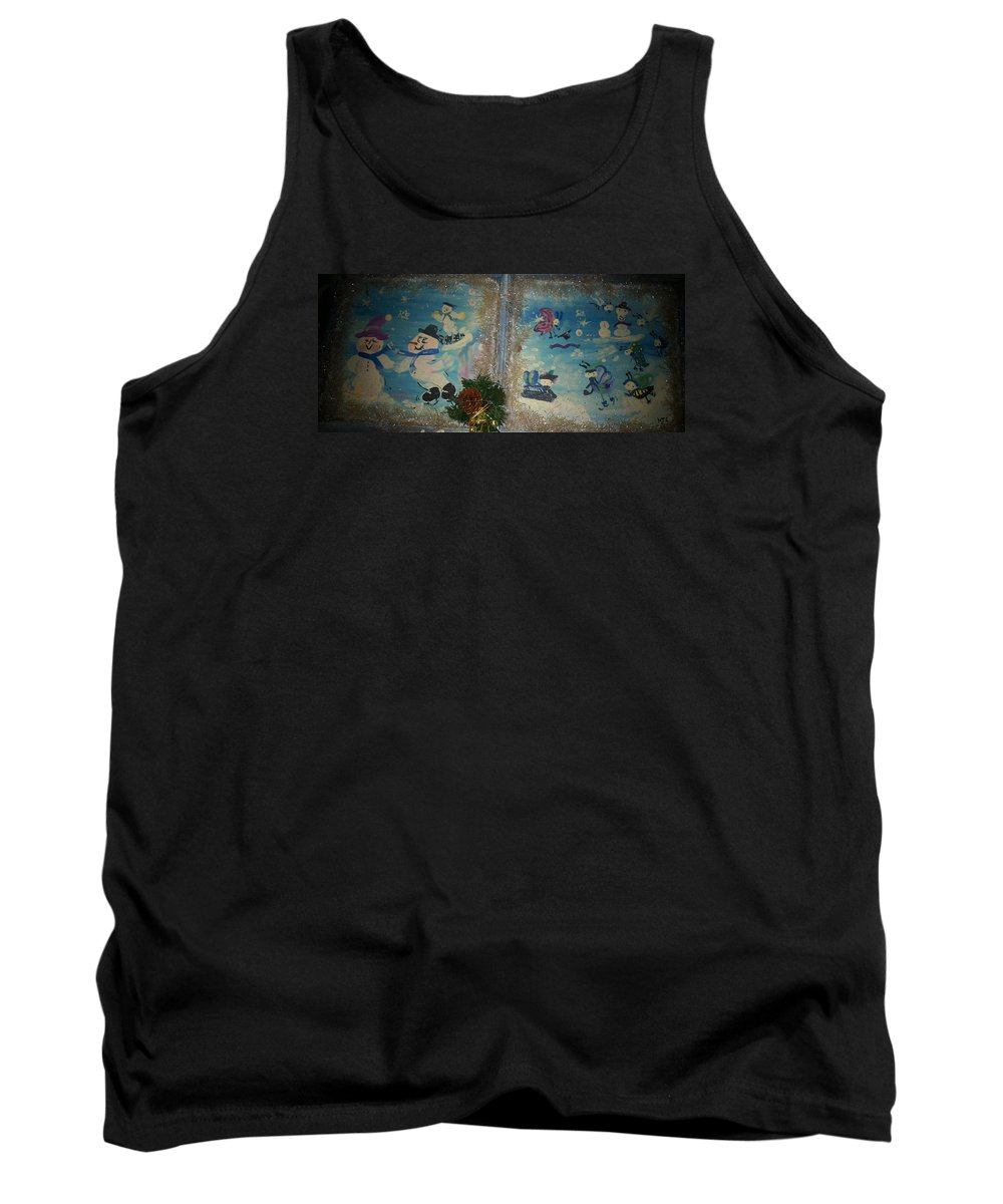 Snow Tank Top featuring the painting Wintertime Fun With Friends by Mandy Henninger christophel