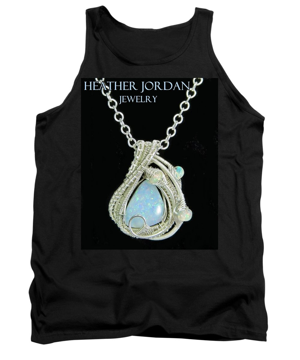 Heather Jordan Tank Top featuring the jewelry Wire-wrapped Coober Pedy Australian Opal Pendant In Sterling Silver With Ethiopian Opals- Auopss5 by Heather Jordan