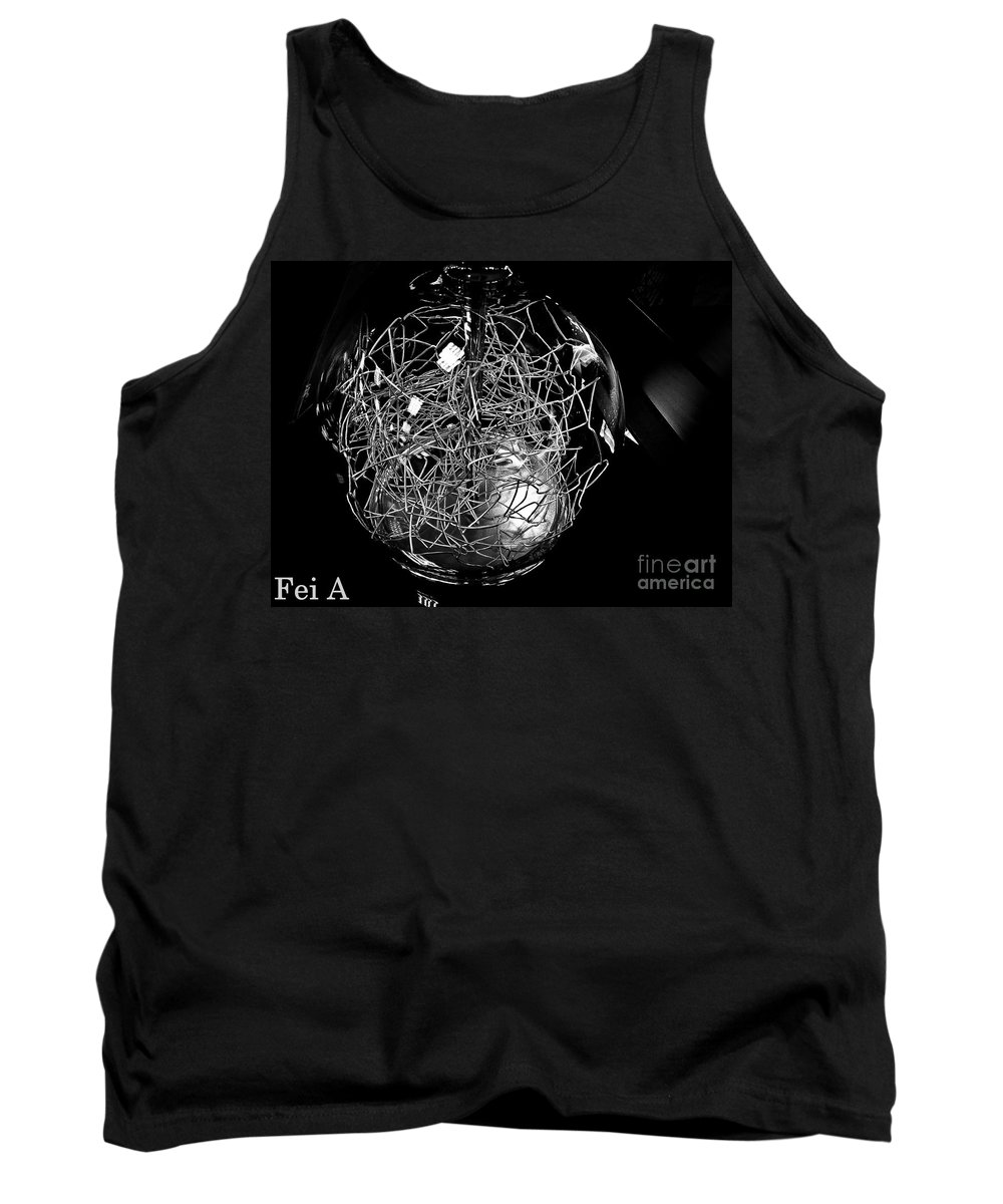 Black And White Tank Top featuring the photograph Wired Power by Fei A