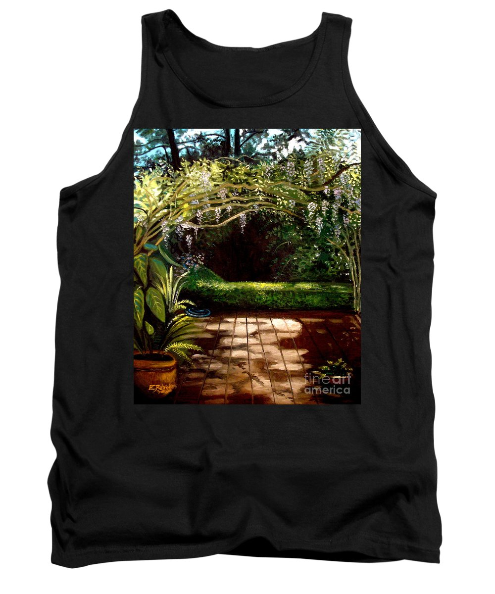Landscape Tank Top featuring the painting Wisteria Shadows by Elizabeth Robinette Tyndall