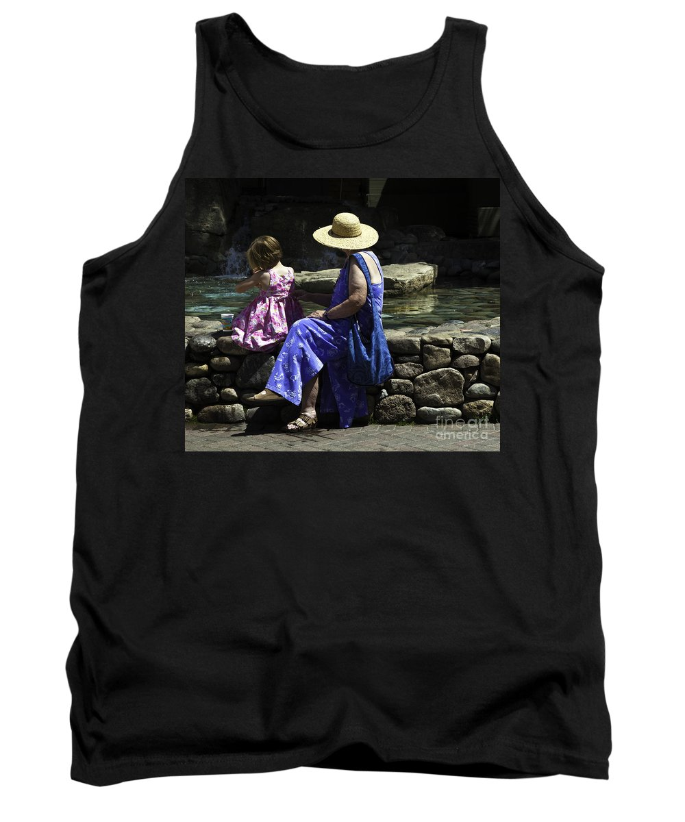 Child Tank Top featuring the photograph Woman And Child At Pond by Madeline Ellis