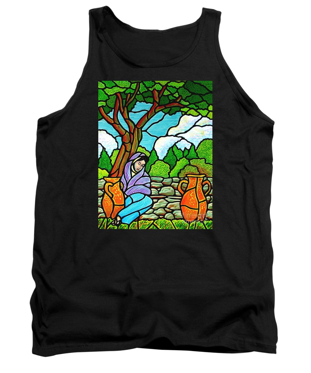 Women Tank Top featuring the painting Woman At The Well by Jim Harris