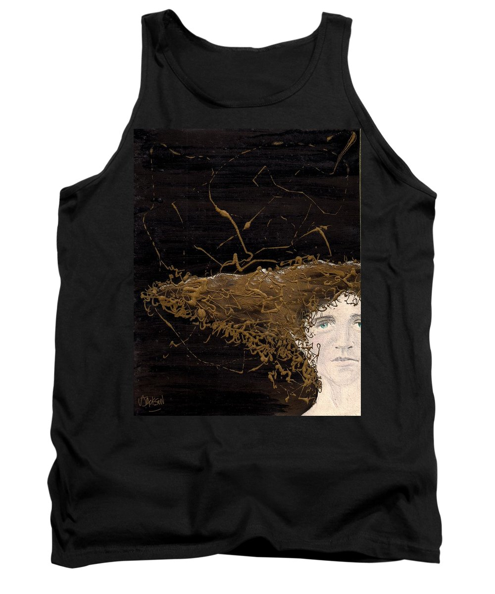 Hair Gold Woman Face Eyes Softness Tank Top featuring the mixed media Woman With Beautiful Hair by Veronica Jackson