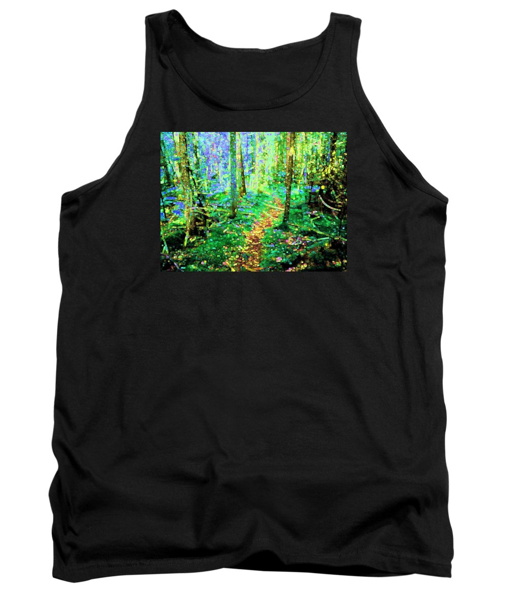 Nature Tank Top featuring the digital art Wooded Trail by Dave Martsolf