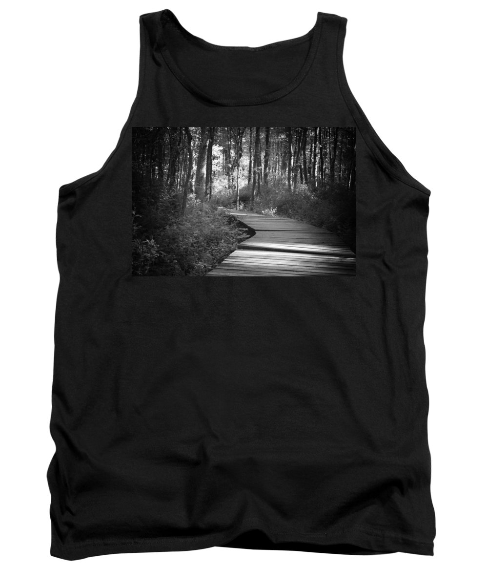Black And White Tank Top featuring the photograph Wooded Walk by Scott Wyatt